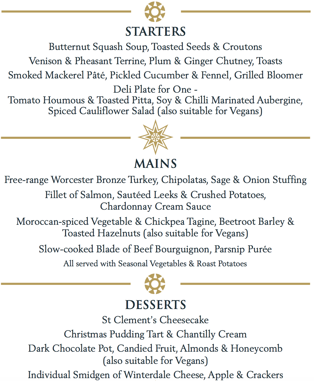 Your Christmas Party or Meal at Brookmans Park, Hertfordshire